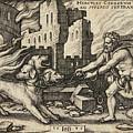 Hercules Capturing Cerberus by Sebald Beham