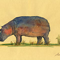 Hippo Watercolor Painting  by Juan  Bosco