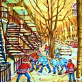Hockey Game Near Winding Staircases by Carole Spandau