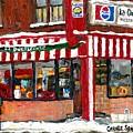 Original Montreal Paintings For Sale Peintures A Vendre Restaurant La Quebecoise Deli by Carole Spandau