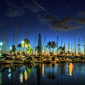 Honolulu Harbor By Night by Benny Marty