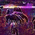 Horses Flock Coupling Ride Animals  by PixBreak Art
