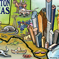 Houston Texas Cartoon Map by Kevin Middleton