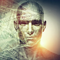 Human Man Face And Dollars Double Exposure. by Michal Bednarek