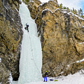Ice Climbers On A Route Called Professor Falls Rated Wi4 In Banf by Elijah Weber