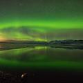 Iceland Aurora Reflection by Dan Leffel