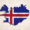 Iceland Map Art With Flag Design by World Art Prints And Designs