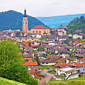 Idyllic Alpine Town Of Kastelruth On Green Hill View by Brch Photography