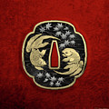 Japanese Katana Tsuba - Twin Gold Fish On Black Steel Over Red Velvet by Serge Averbukh