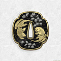 Japanese Katana Tsuba - Twin Gold Fish On Black Steel Over White Leather by Serge Averbukh