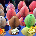 Ladies Collapsible Straw Hats At The Cove Marketplace At Port Ca by Allan  Hughes