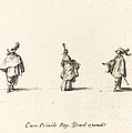 Lady With Dress Gathered Up, And Two Gentlemen by Jacques Callot