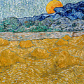 Landscape With Wheat Sheaves And Rising Moon by Vincent van Gogh