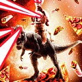 Laser Eyes Space Cat Riding Dog And Dinosaur by Random Galaxy