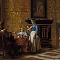 Leisure Time In An Elegant Setting by Pieter de Hooch