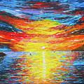 Lighthouse Sunset Ocean View Palette Knife Original Painting by Georgeta Blanaru