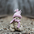 Little Teddy Bear Sitting In Knitted Scarf And Cap In The Winter Forest Between The Rails by Andrea Varga