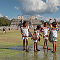 Local Schoolgirls And Temple Of A Thousand Warriors In Chichen Itza by Aivar Mikko