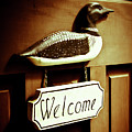 Loon Welcome Sign On Cottage Door by Gordon Wood