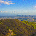 Los Angeles Ca Skyline Runyon Canyon Hiking Trail by David Zanzinger