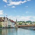 Lucerne Chapel Bridge And Water Tower - Panoramic by Melanie Viola