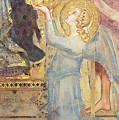 Maesta  Angel Offering Flowers To The Virgin by Simone Martini