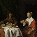 Man And Woman At A Meal by Gabriel Metsu