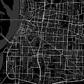 Memphis Tennessee Usa Dark Map by Jurq Studio