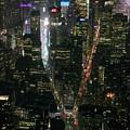 Midtown West Manhattan Skyline Aerial At Night by David Oppenheimer
