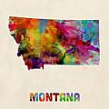 Montana Watercolor Map by Michael Tompsett