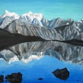 Mountains Landscape Acrylic Painting by Natalja Picugina