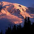 Mt. Rainier Dawn And Clouds by Tim Rayburn