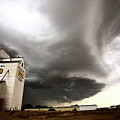 Nasty Looking Cumulonimbus Cloud Behind Grain Elevator by Mark Duffy