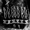 Native American Petroglyph On Sandstone Black And White by John Stephens