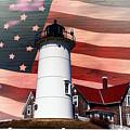 Nobska Lighthouse On American Flag by Jeff Folger