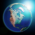 North America 3d Render Planet Earth Dark Space by Frank Ramspott