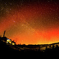 Northern Lights Over Nant Yr Arian Wales by Keith Morris
