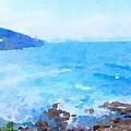 Ocean Coastline Watercolor by Leah Lambart