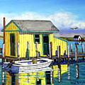 Old Crab Yellow Shacks Of Tangier Island by Jerry SPANGLER
