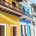 Old San Juan Houses In Historic Street In Puerto Rico by Jasmin Burton