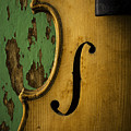 Old Violin Against Green Wall by Garry Gay