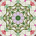 Orchids And Stone Wall Kaleidoscope 1764 by R V James