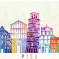 Barcelona Landmarks Watercolor Poster by Pablo Romero