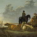 Peasants And Cattle By The River Merwede by PixBreak Art