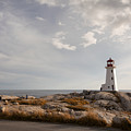 Peggys  Cove Lighthouse In Nova Scotia Canada by Nick Jene