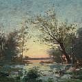 Per Ekstrom, French Landscape In Sunset. by Per Ekstrom