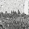 Philadelphia Skyline Map 4 by Bekim Art