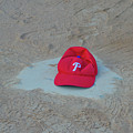 Phillies Hat On Home Plate by Bill Cannon