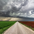 Pick A Side - Colorful Fields Divided By Road On Stormy Day In Oklahoma. by Southern Plains Photography