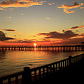 Fiery Reflections At The Pier  by Ola Allen